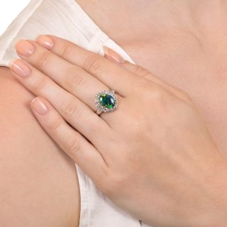 Estate Black Opal and Diamond Halo Ring