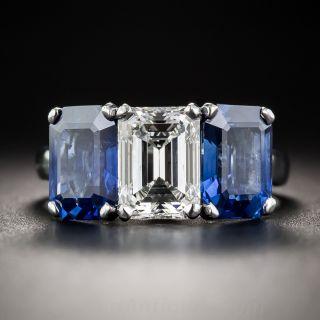 1.73 Carat Emerald-Cut Diamond and No-Heat Sapphire Three-Stone Ring - GIA F/VVS1  - 1