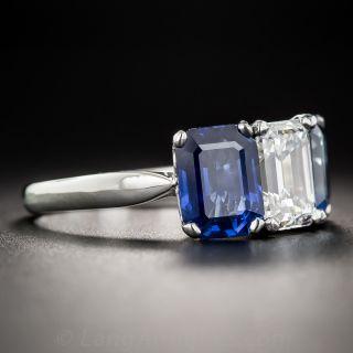 1.73 Carat Emerald-Cut Diamond and No-Heat Sapphire Three-Stone Ring - GIA F/VVS1