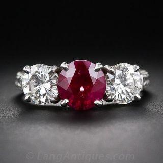 1.75 Carat Ruby and Diamond Estate Ring - 1
