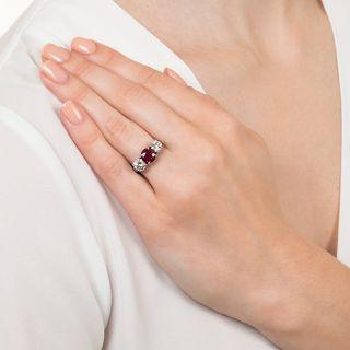 1.75 Carat Ruby and Diamond Estate Ring