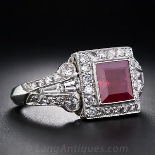 1.75 Carat Square Ruby and Diamond Ring