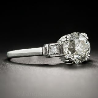 1.76 Carat Diamond and Platinum Vintage Engagement Ring - GIA