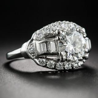1.76 Carat Platinum and Diamond Art Deco Ring
