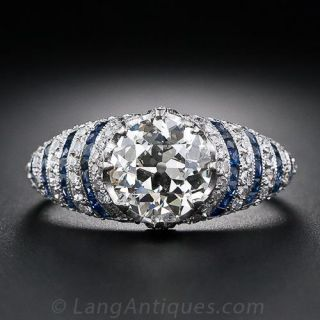1.77 Carat Diamond and Calibre Sapphire Art Deco Ring - GIA - 1