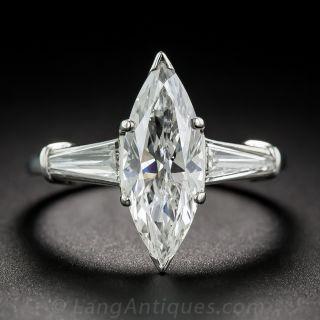 1.77 Carat Marquise Diamond and Platinum Ring - GIA G/SI2