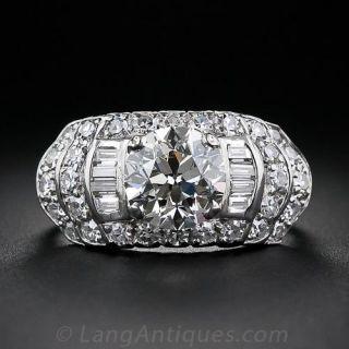 1.79 Carat Diamond Art Deco Engagement Ring - 1