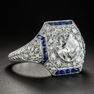 1.81 Carat Art Deco Ring with Calibre Sapphires - GIA D VS1