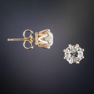 1.82 Carat Diamond Stud Earrings 18K Rose Gold