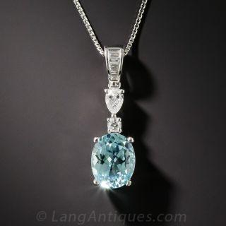 1.82 Carat Paraiba Tourmaline and Diamond Pendant