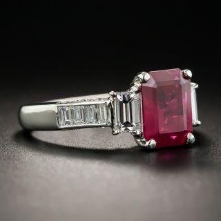 1.83 Carat Emerald-Cut Burmese Ruby Platinum Diamond Ring - GIA
