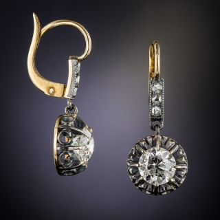 1.85 Carat Antique Diamond Earrings