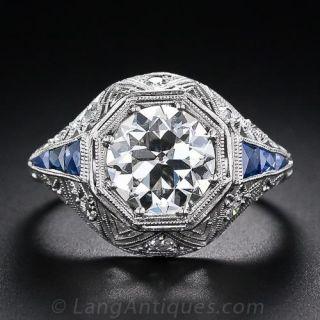 1.87 Carat Art Deco Diamond Ring with Sapphire Calibre - 1