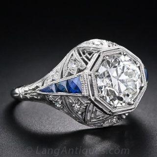 Art Deco Diamond Ring with Sapphire Calibre - GIA 1.87 Ct K VS1