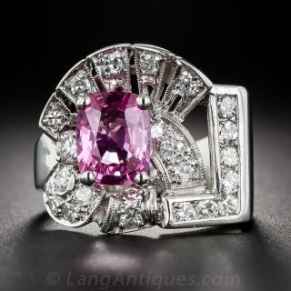 1.87 Carat Pink Sapphire, Platinum and Diamond Art Deco Ring