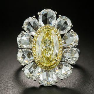 1.93 Carat Natural Fancy Yellow Diamond Flower Cocktail Ring - GIA - 2