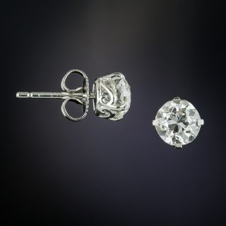 Lang Collection 1.94 Carat Total European-Cut Diamond Stud Earrings - GIA H VS2 - 1
