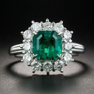 1.95 Carat Emerald Platinum Diamond Ring - 2