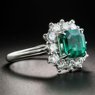 1.95 Carat Emerald Platinum Diamond Ring
