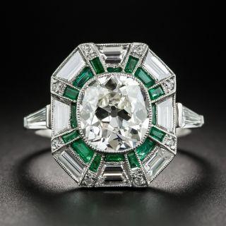 1.96 Carat Diamond Art Deco Diamond and Calibre Emerald Ring - GIA K SI2 - 1