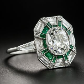 1.96 Carat Diamond Art Deco Style Diamond and Calibre Emerald Ring - GIA K SI2
