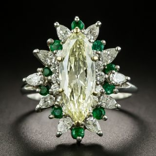 1.96 Carat Light Fancy Yellow MarquiseDiamond and Emerald Ring - GIA - 1