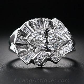 1.97 Carat Marquise Diamond Mid-Century Ring - 2
