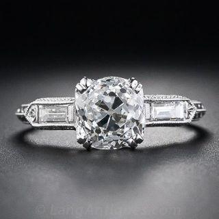 1.997 (7-9-18) Carat Old Mine Cut Diamond Art Deco Style Solitaire Engagement Ring - 1