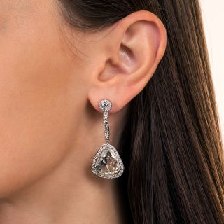 10.03 Carat Total Weight Trillion-Cut Diamond Drop Earrings - GIA
