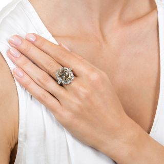 10.07 Carat Oval Natural Fancy Yellowish Brown Diamond Ring
