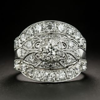 Art Deco .18 Carat Diamond Engagement Ring with Double Guard Rings by Jabel - 1
