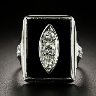 Art Deco Diamond and Onyx Ring - 1
