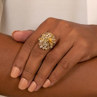 Estate Fancy Colored Diamond Cluster Ring