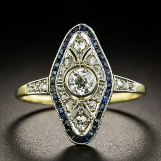 Late Edwardian Diamond and Synthetic Sapphire Dinner Ring - 1