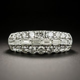 Three-Row Baguette and Round Diamond Band - 1