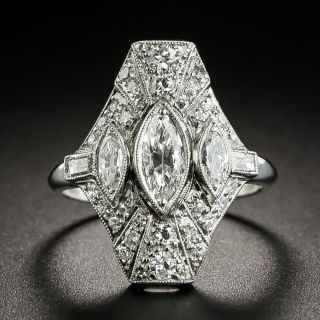 Art Deco Three Marquise Diamond Dinner Ring - 1