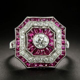 Art Deco Style Octagonal Diamond and Calibre Ruby Platinum Ring - 2