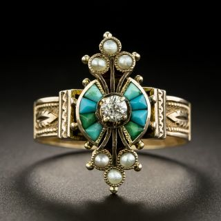 Victorian Diamond, Turquoise and Seed Pearl Ring - 1
