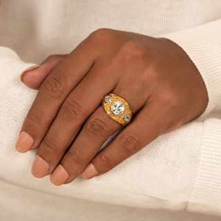 2.10 Carat Center Diamond Antique Three-Stone Ring