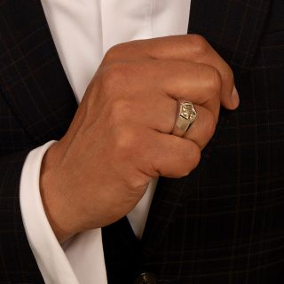 2.57 Carat Fancy Color Pentagonal Diamond Gent's Ring
