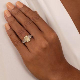 3.71 Carat Radiant Diamond And Baguette Diamond Ring - GIA