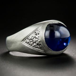 10.38 Carat Cabochon Sapphire and Platinum Gent's Ring