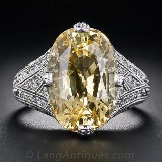 11.15 Carat Yellow Sapphire and Diamond Ring - 1