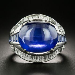 11.80 Carat Cabochon Sapphire  Diamond Ring - GIA - 2