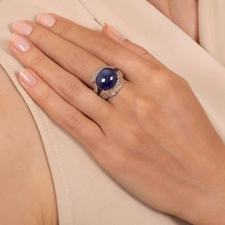 11.80 Carat Cabochon Sapphire  Diamond Ring - GIA