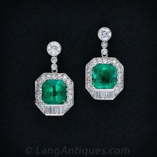12 Carat Emerald and Diamond Earrings