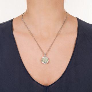 13.27 Carat Cat's-Eye Chrysoberyl and Diamond Pendant Necklace