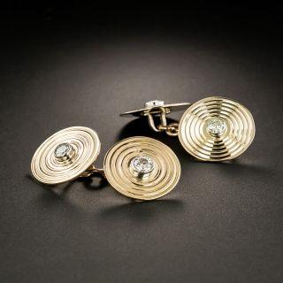 Vintage Round Diamond Cufflinks - 2