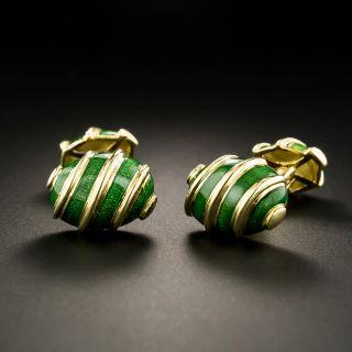 Tiffany Schlumberger Green Enamel Cufflinks - 2
