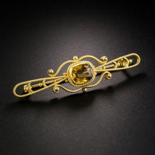 Yellow Gold Citrine Brooch - 2